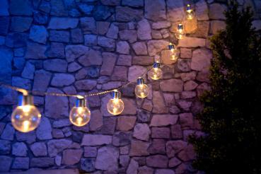 Solar-LED-Lichterkette mit 20 LEDs in Glühbirnenform, 3,8 Meter, IP44