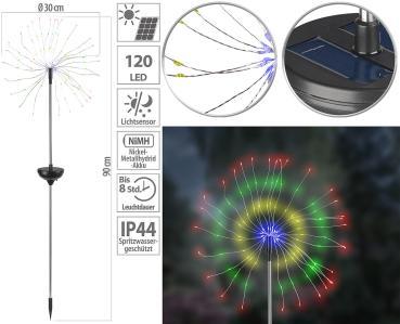 Garten-Solar-Lichtdeko mit Feuerwerk-Effekt, 120 bunte LEDs, IP44
